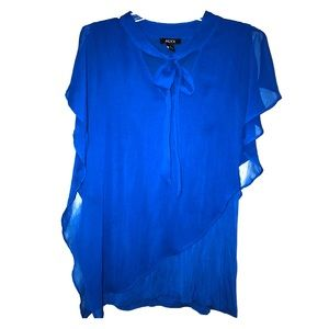 Alyx Royal Blue Work Blouse with Tie Neckline